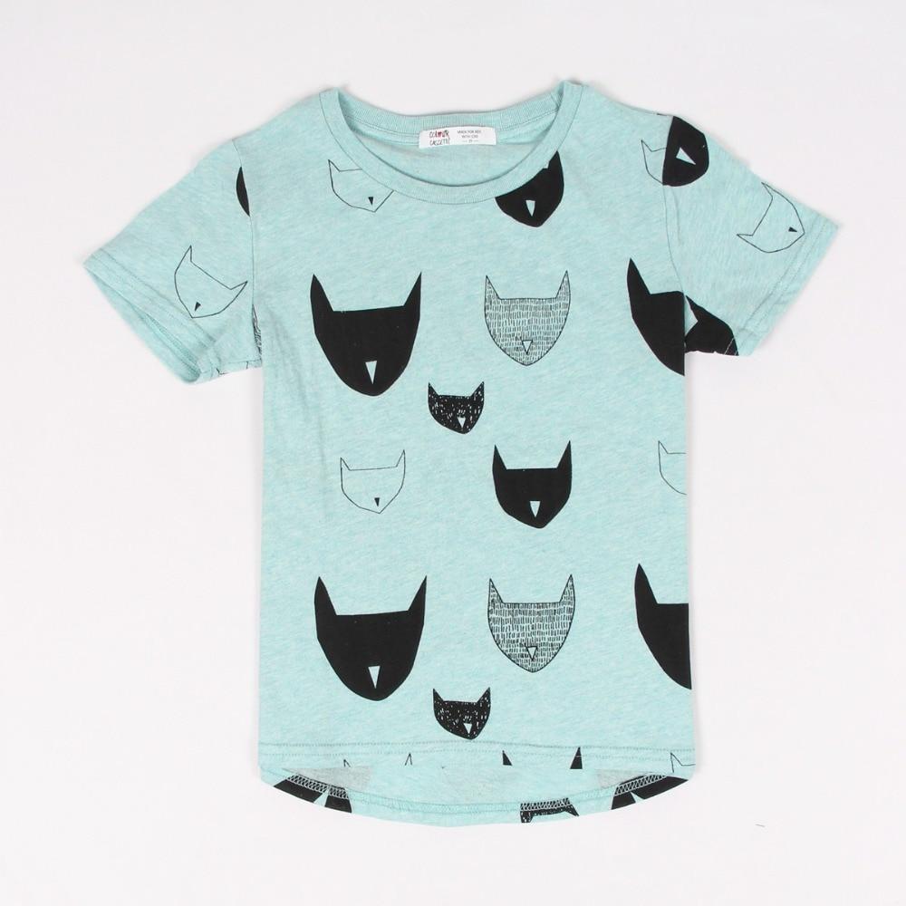 2016 Brand New Summer Kids Children Tshirt 100%Cotton cat print