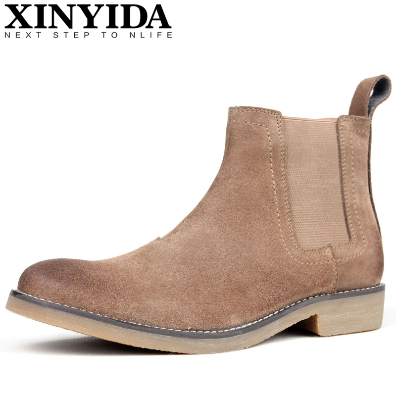 British Vintage Cow Leather Men Western Boots Fashion Slip On Breathable Warm Martin Boots Ankle Botas Chelsea Boots Size 39-44 british style men chelsea boots genuine leather breathable bullock martin boots pointed toe slip on ankle boots 033