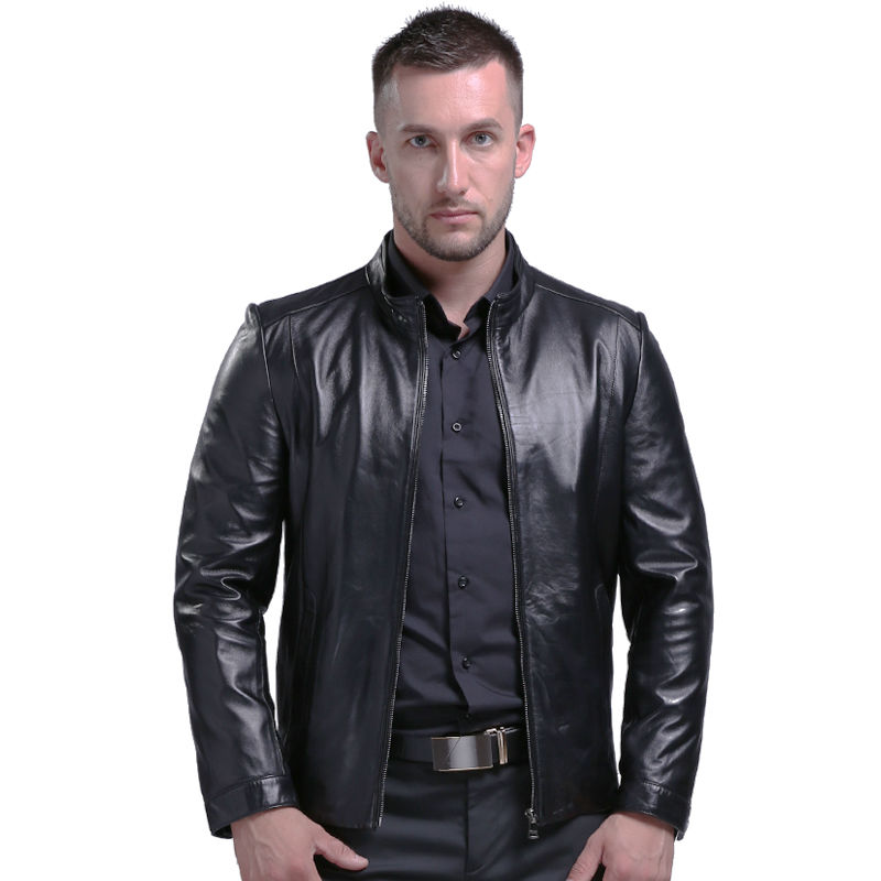 New Style Classical Men's Genuine Leather Jackets Real Sheepskin Jaqueta De Couro Black Male Genuine Leather Jacket For Men 806