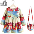 Retail 2-8years Dress+Bag/set New Cute Kids Baby Girl Summer Spring Fall Long-Sleeve Perfume Princess Flower 2016