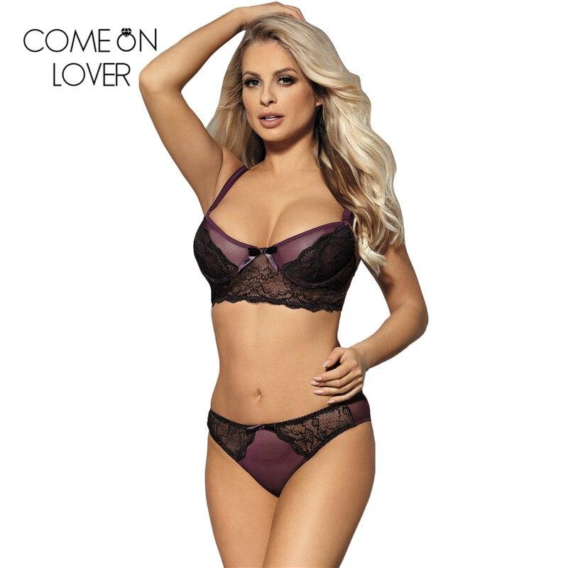 Luxury purple plus size lace bra and panty set excellent quality see through bra sets for women lingerie sets briefs RL80273 1
