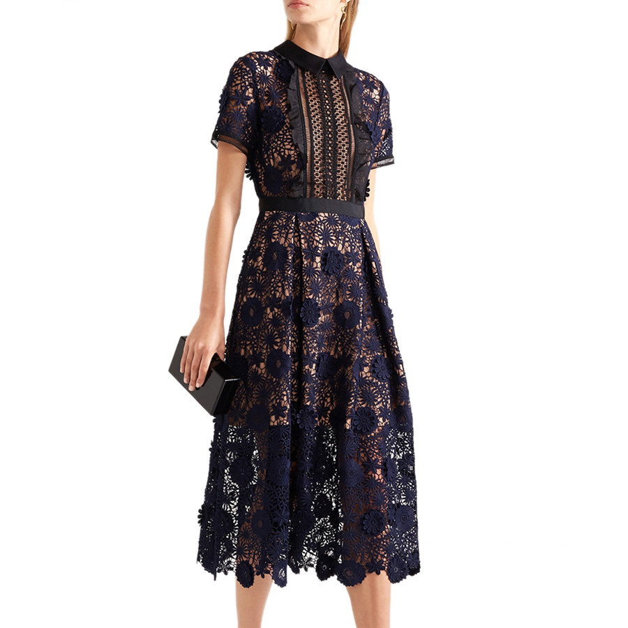 European Style Runway Dresses 2018 Women High Quality Sexy Hollow Out Vintage Lace Dresse Short Sleeve Party Dresses Vestidos