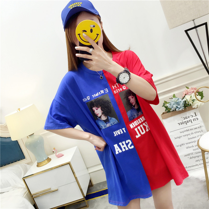 NEW 2018 summer casual patchwork hip hop Printed Women T-shirts Casual Summer Short Sleeve clother women Tops female Plus Size