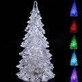 Año nuevo Tipo Mini Árbol de Navidad En Forma de Cristal que cambia de Color LED Lámpara de Escritorio Noche (Plata)