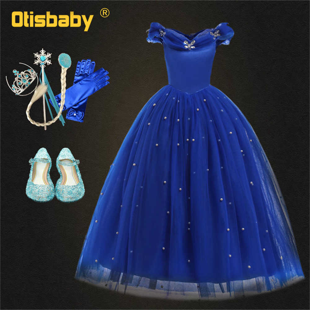 a1fe6955cc95 Detail Feedback Questions about Fancy Girls Princess Cinderella Dress Kids  Lace Sleeveless Long Evening Dress Off Shoulder Pageant Ball Gown New Year  ...