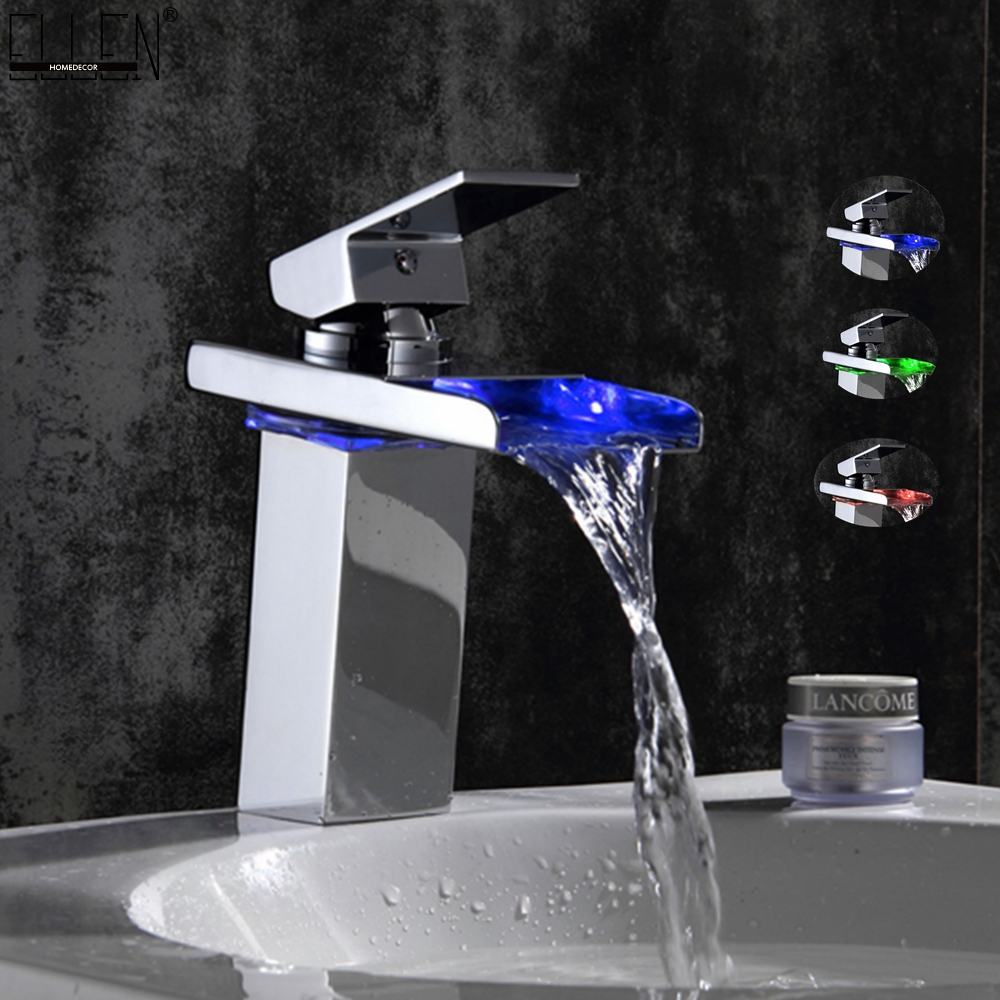 Chromed Bathroon Sink Faucet With Temperature Control: Deck Mounted LED Waterfall Bathroom Basin Faucet Water