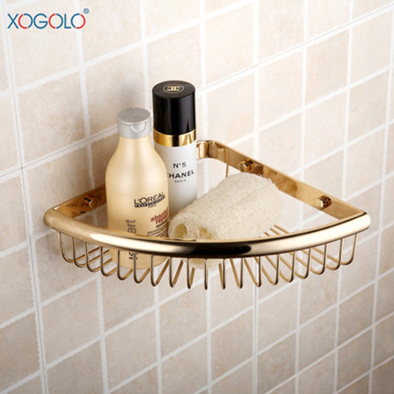 где купить  Xogolo Bathroom Corner Shelf Fashion Gold-plated Shower Basket Single Tier Triangle Bathroom Shelves Accessories Good Quality  по лучшей цене