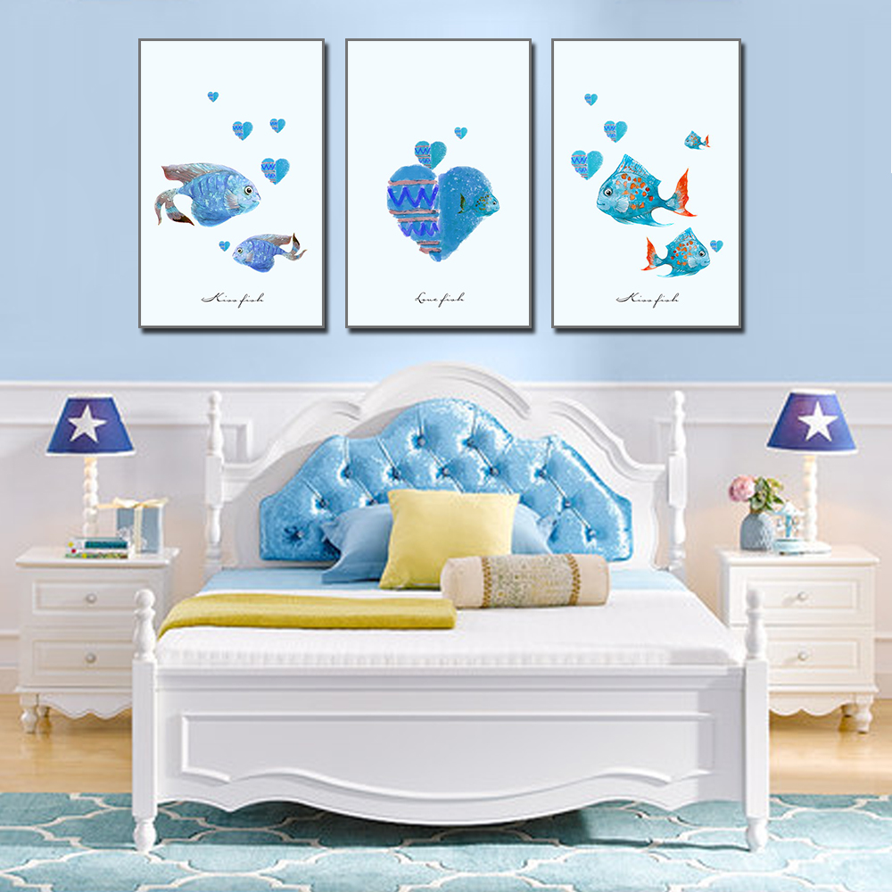 Unframed HD 3 Art Paintings Creative Cartoon Decorative Painting Cute Little Sea Fish Palm Living Room Inkjet Mural