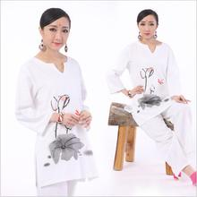 High-end Materials cotton hemp long sleeve Yoga set Jacket + Pants  printing Ink Lotus Tai Chi Zen Linen Cotton muse suits