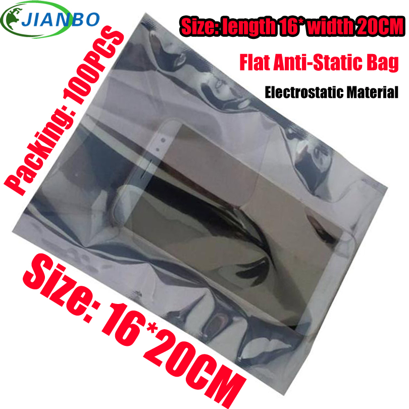 Factory Outlet Open Flat Mouth Antistatic Shielding Bags ESD Self Sealing Bag Antistatic Shielding Plastic Packaging Bag 16*20CM
