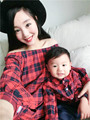 2016 autumn family matching clothes plaid cotton mother son outfits shirt  family clothing father and son clothes family look