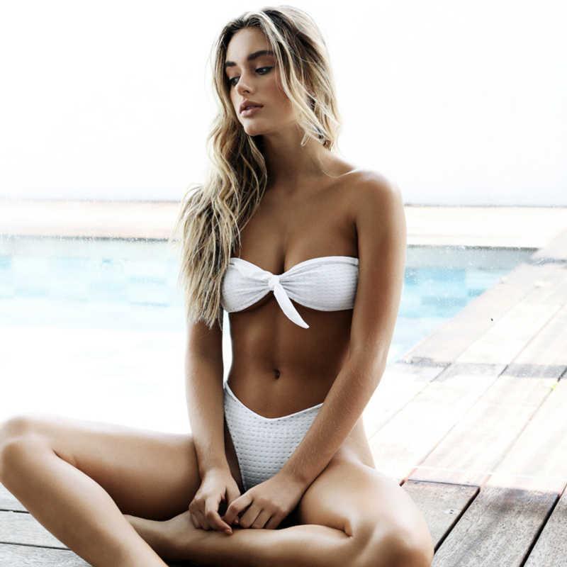 Micro Seksi Bikini 2019 Mujer Thong Tinggi Pinggang Bikini Push Up Baju Putih Baju Renang Wanita Pakaian Renang Two Piece Berenang suit