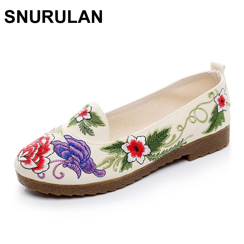 SNURULAN Chinese Women Flats Casual Shoes Old BeiJing Floral Canvas Embroidery Shoes Slip On Soft Single Ballet Shoes Sapato vintage women flats old beijing mary jane casual flower embroidered cloth soft canvas dance ballet shoes woman zapatos de mujer