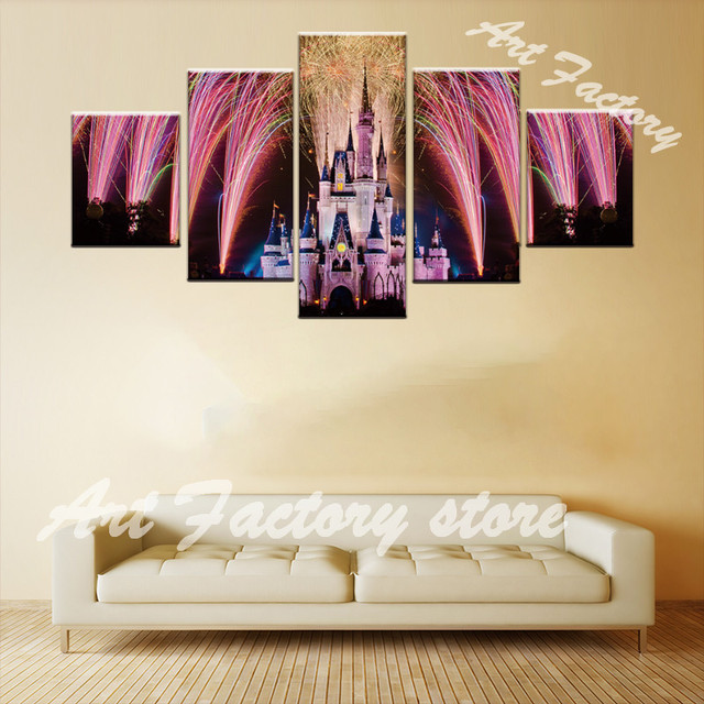 5 pieces beautiful pink dream castle fireworks bloom decor canvas picture art hd print painting on