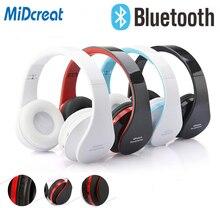 Fones de ouvido sem fio midcreat 8252, fone de ouvido dobrável com bluetooth, redução de ruído e microfone para esporte, música