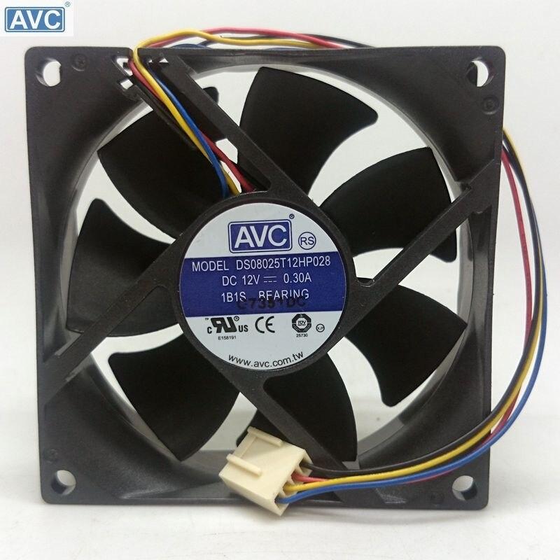 Original DS08025T12HP028 AVC 8025 0.3A 12V cooling fan 4 ...