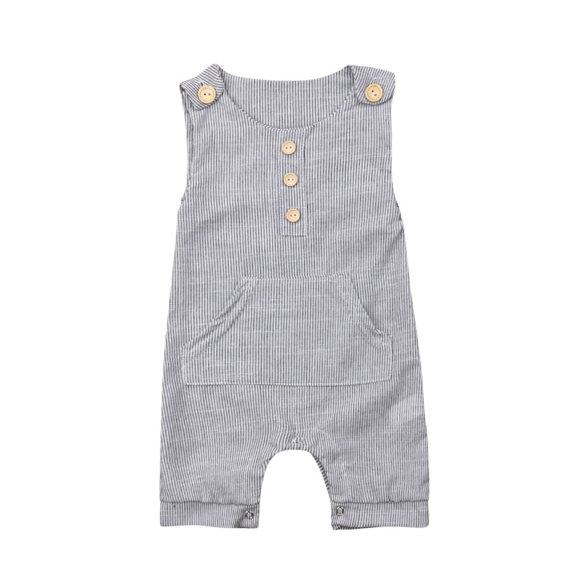 2019 Newborn Baby Boys   Romper   Pinstripe Jumpsuit Casual Sleeveless Playsuit Babygrow Outfits Clothes 0 to 18M