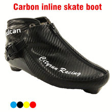 Professional Carbon Fiber Speed Skate Shoes Adults/Child Roller ICE Skates Boots Advanced black lBlue Yellow Red Shoes(China)