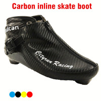 Professional Carbon Fiber Speed Skate Shoes Adults/Child Roller ICE Skates Boots Advanced black lBlue Yellow Red Shoes