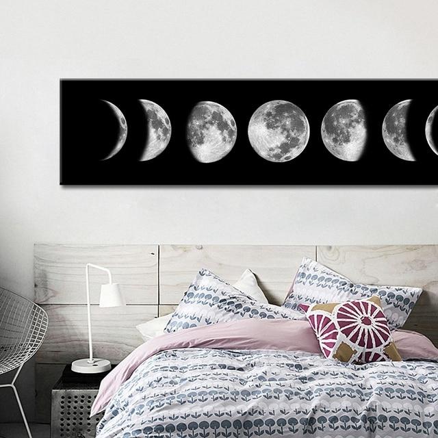 En Ucuz Eclipse Ay Tuval Poster Minimalist Sanat Boyama Evren