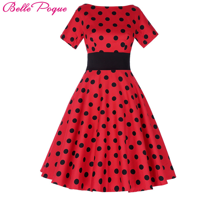 94dabb0f977a8a Belle Poque Vintage Polka Dot Dress Short Sleeve O-Neck Clothes Wear Female  robe Vintage 50s Retro Swing Woman Party Dresses