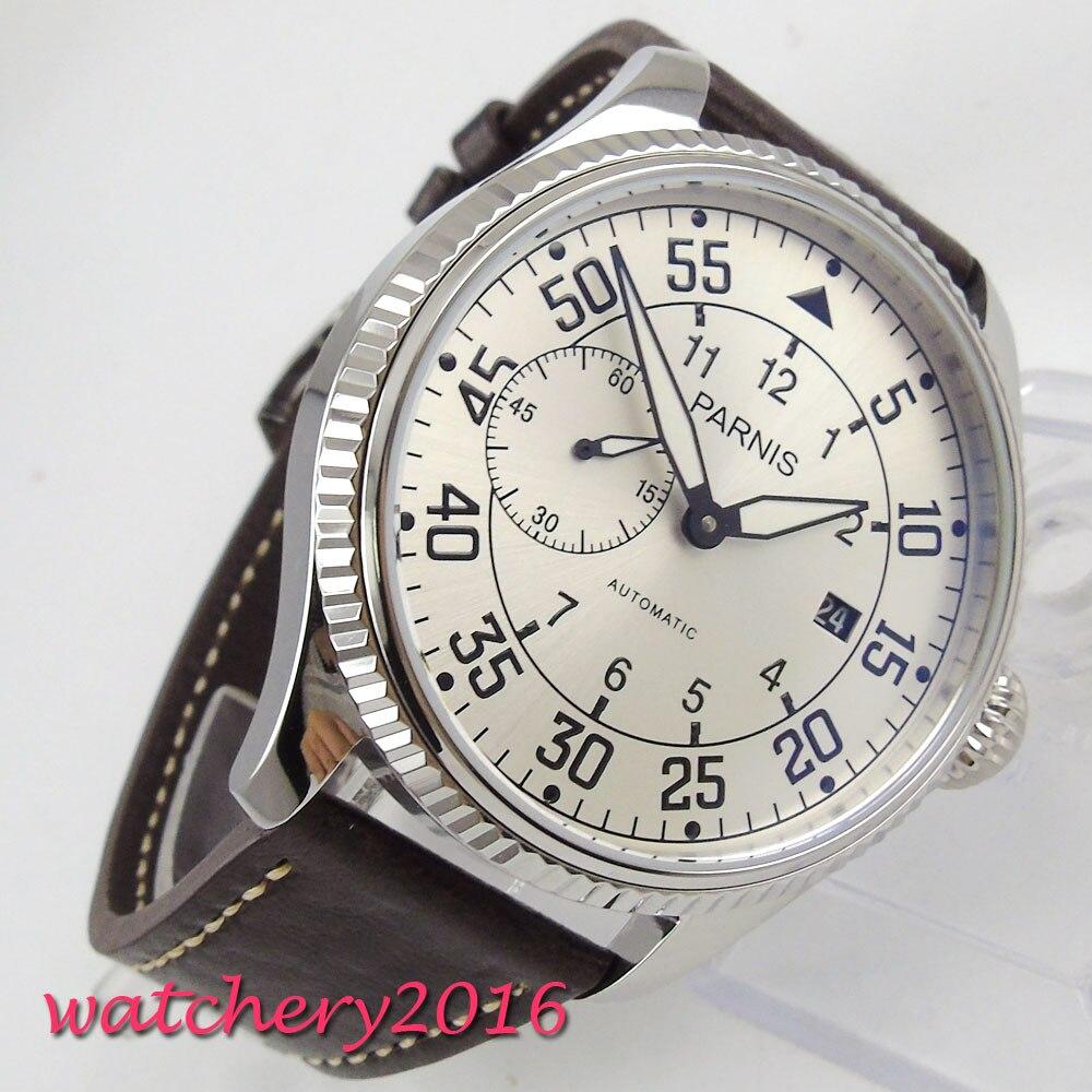 купить 45mm parnis White dial Complete Calendar Stainless Steel case ST 2555 Automatic Movement men's Mechanical Wristwatches по цене 7423.97 рублей