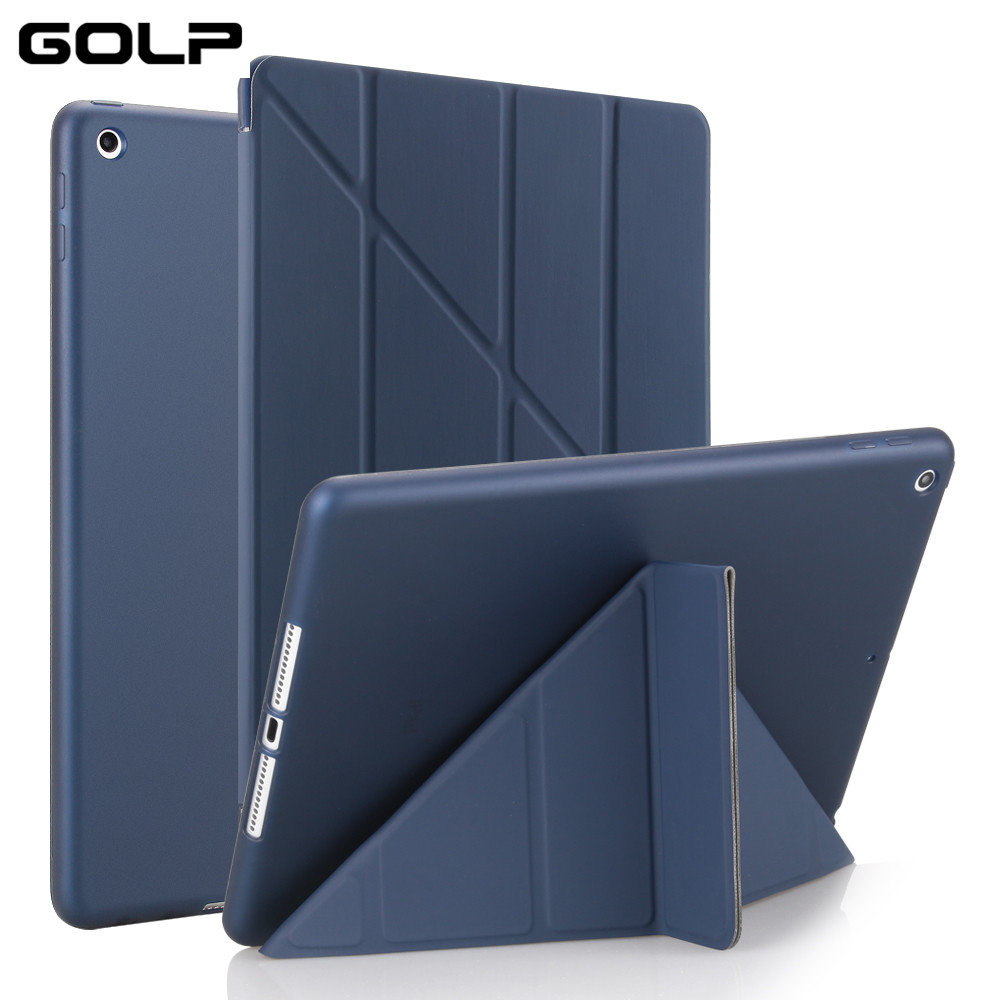 все цены на Case Cover for iPad 9.7 2017, GOLP PU Leather Magentic Smart Cover Soft TPU Back Protective Case for iPad 2018 cover A1822 A1823 онлайн