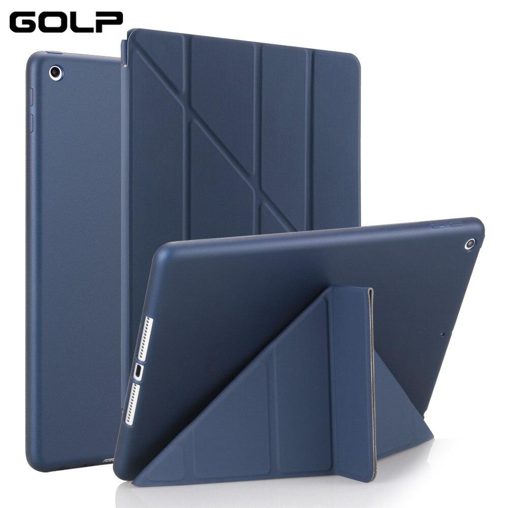 Tampa Do caso capa para iPad 9.7 2017, GOLP Magentic Smart Cover TPU Macio de Volta Caso de Proteção de Couro PU capa para iPad 2018 capa A1822 A1823
