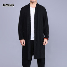 2017 new men trench coat china style linen cardigan coat men vintage broken long jacket fashion windbreaker overcoat  A321