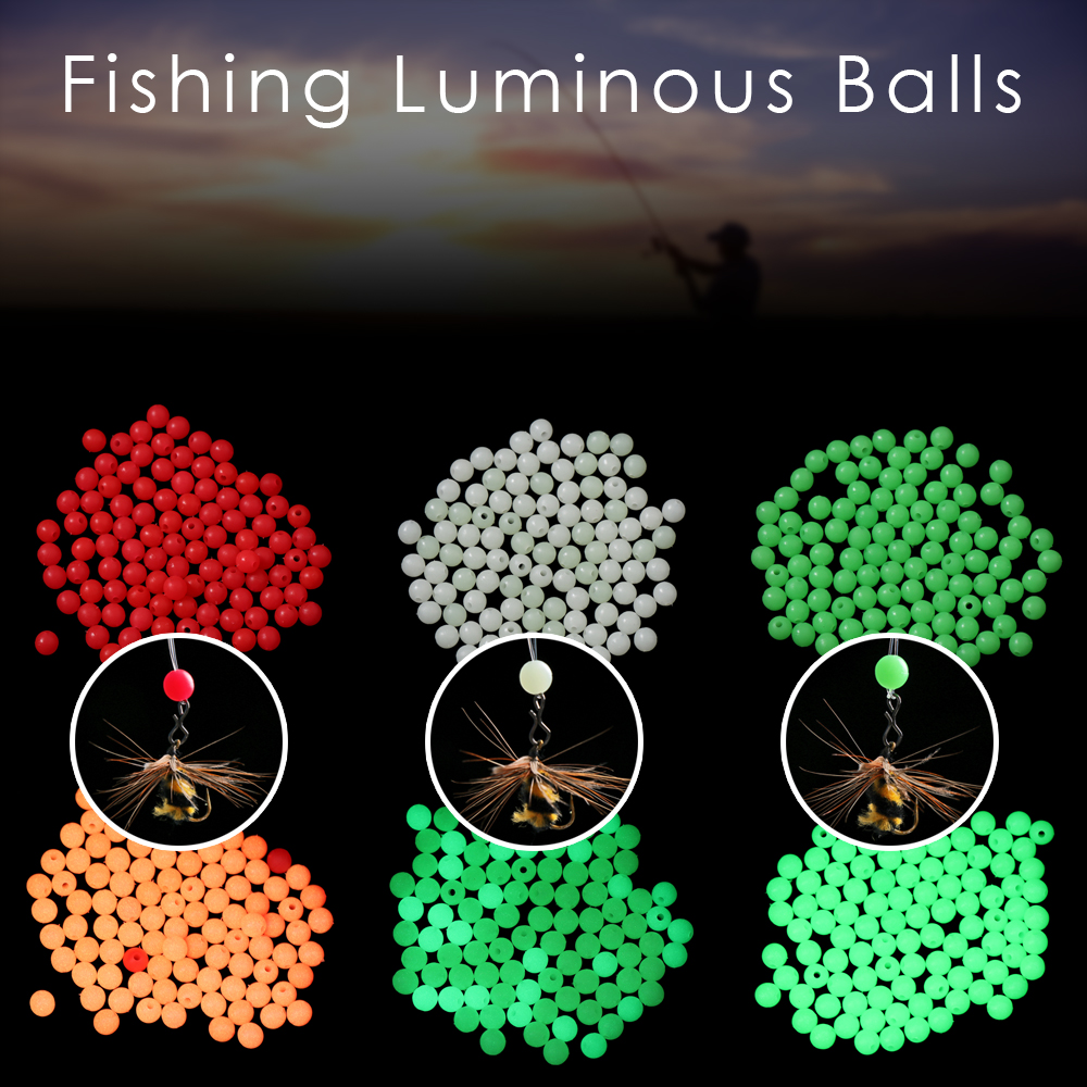 100pc/bag Fishing Floats Beads 3 colors Luminous Light Glowing Balls For Night Fishing Plastic 4/5/6/8mm Bass Bait Fishing Lure