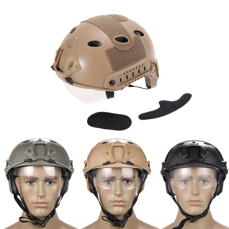 Free Shipping Paintball Wargame Climbing Army Airsoft Tactical FAST Helmet with Protective Goggle Lightweight
