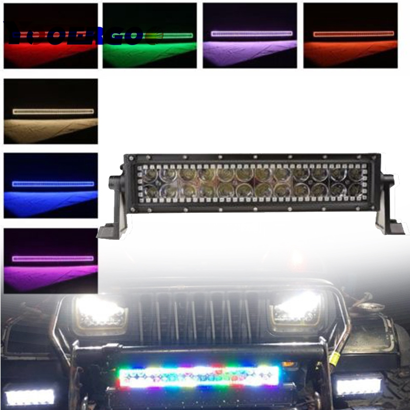 13.5 inch 72W LED Light Bar Straight RGB HALO Ring RGB color by Remote for Fog Driving Boat Car Truck SUV ATV Off Road rgb led rock light kits bluetooth remote control lights for off road truck car atv suv vehicle boat with timing