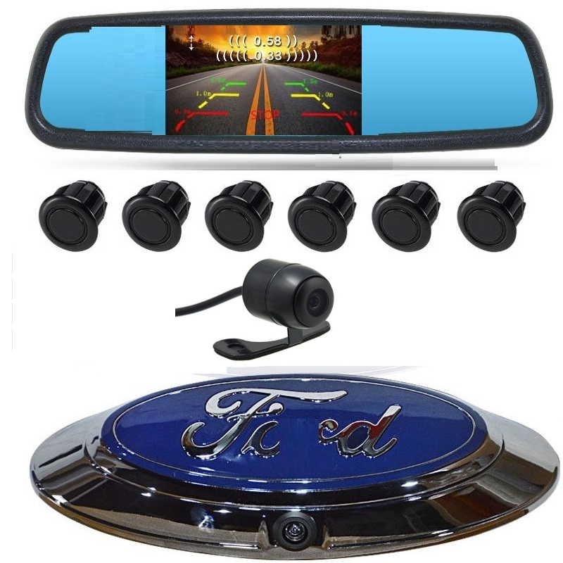 4.3 LCD FRONT REAR PARKING SENSOR camera 6Sensor Reversing Radar Detector Car Parking Assistance Alarm System FOR FORD RANGER