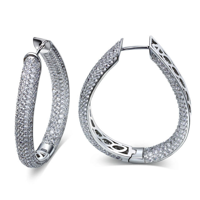 2017 New Free Shipping AAA CZ large hoop earrings new Fashion earrings Woman's Party Hoop Earrings white Rhodium plated jewelry