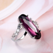 2019 New Arrival High Quality Silver Ring Cuboid Purple Colors Zircon Crystal Wedding Jewelry Engagement For Women jewelry