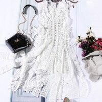 Женское кружевное платье майка с кисточками, комплект из двух предметов, 2018 Макси платья, Vestidos, сексуальное пляжное платье на лето и осень