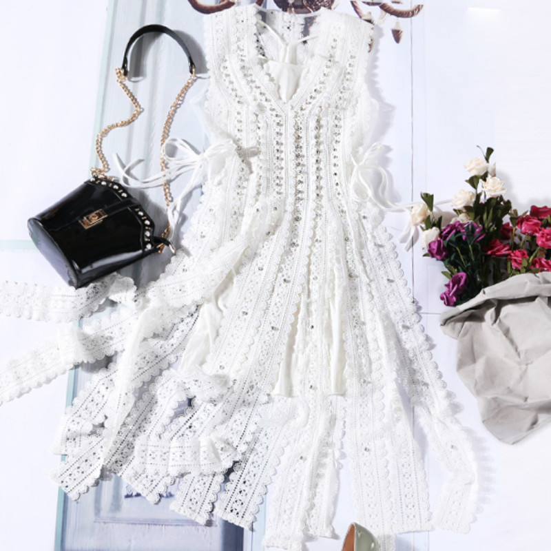 Licou dentelle gland robe femmes débardeur gilet robe deux pièces ensemble 2018 Maxi robes Vestidos Sexy plage été automne robe