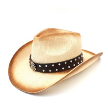 bd793798 Fashion Women Men Straw Western Cowboy Hat With Punk Leather Band For Lady  Dad Sombrero Hombre