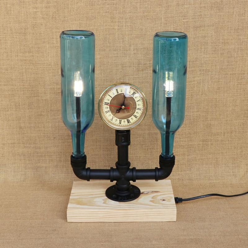 Modern 2 Bottles lampshades desk light vintage clock tabel light include G4 bulb for bedroom bedside office bar study 220V