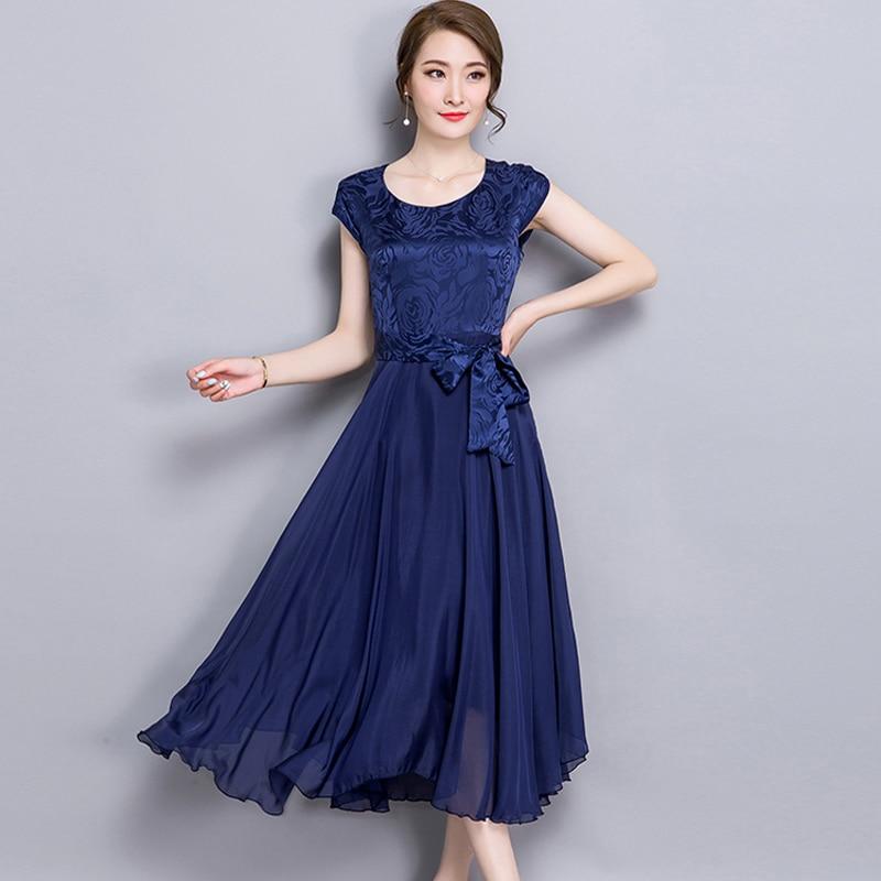 2017 New Cheap Plus Size Short Sleeves Vintage Medieval: 2017 New Korean Summer Women Rayon Dress Vintage Elegant