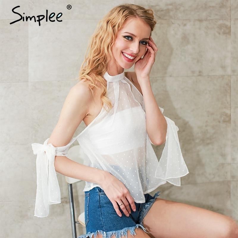 Simplee Cabestro fuera del hombro blusa mujeres tops blanco blusa de la gasa Tra