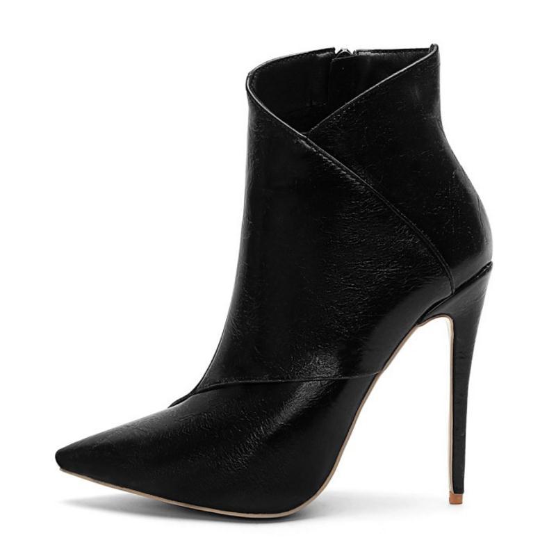 Moda De Negro Zapatos Mujer Puntiagudo Nuevas blanco Invierno Del Piel Mujeres gris Pie Tamaño Caliente Zipper Vulusvalas 45 Altos Tacones marrón Sexy Botas Dedo Calza 34 vvqZB