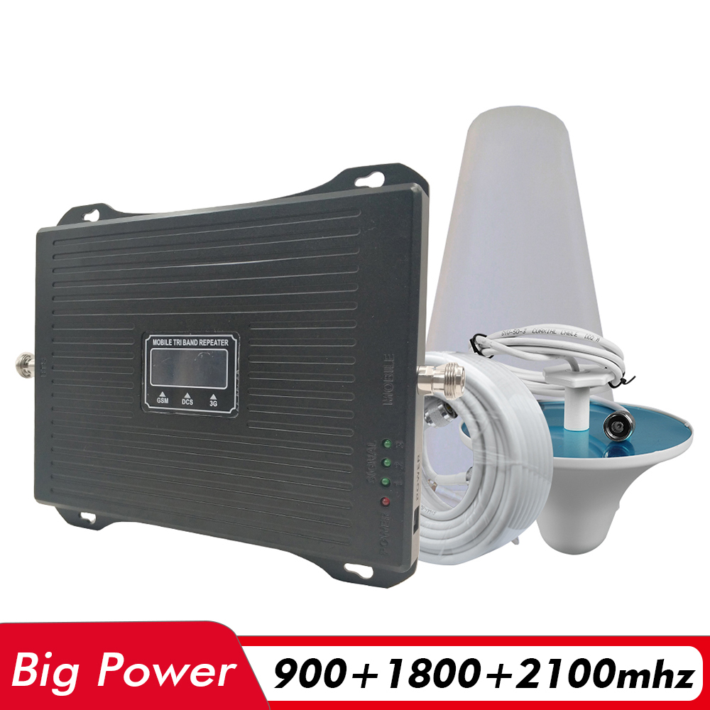 2G 3G 4G Tri Band Signal Booster GSM 900 DCS/LTE 1800 UMTS WCDMA 2100 Cell Phone Signal Repeater Cellular Amplifier Antenna Set