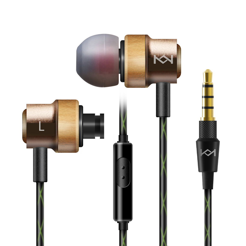 medium resolution of h800 earphone 3 5mm in ear earpiece with mic handsfree wire control headsets noise cancelling earbud made of beech wood golden in earphones headphones