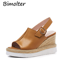 Bimolter Genuine Leather Women Sandals Platform Shoes 8.5cm Wedges Straw Back Strap Fashion Peep toe Thick Heels LSSB004