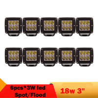 10 Pcs 3 Inch 18W Led Work Light Spot Flood 1800lm Offroad Lamp For Motorcycle Tauck