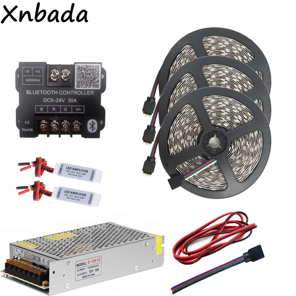 15M 5050 60Led/m RGB Led Strip Led Light Flexible Tape DC12V+Bluetooth Led Controller+12V 10A Led Power Adapter Kit good group diy kit led display include p8 smd3in1 30pcs led modules 1 pcs rgb led controller 4 pcs led power supply