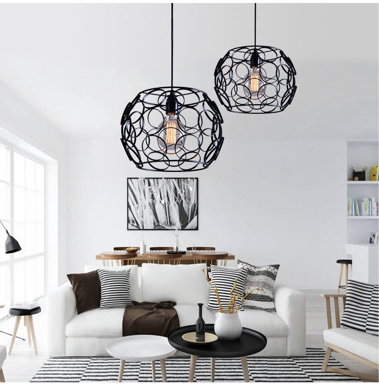 Nordic Simple Hollow Out Circle Retro Iron Pendant Lights Edison Bulbs Lamps L116 цены онлайн