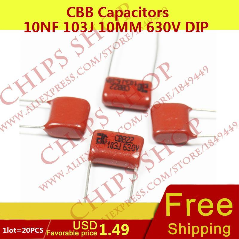 1LOT=20PCS CBB Capacitors 10nF 103J 10MM 630V DIP 10000pF 0.01uF