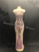 Sparkly Purple Rhinestones Mesh Long Dress Women's Birthday Party Dress Evening Dance Outfit See Through Prom Celebrate Dresses
